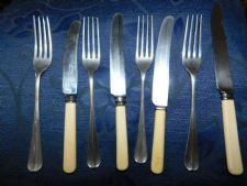OLD SILVER PLATED FOUR PLACE SETTING JAMES DIXON FORKS CELLULOID BLAYDON EATERS
